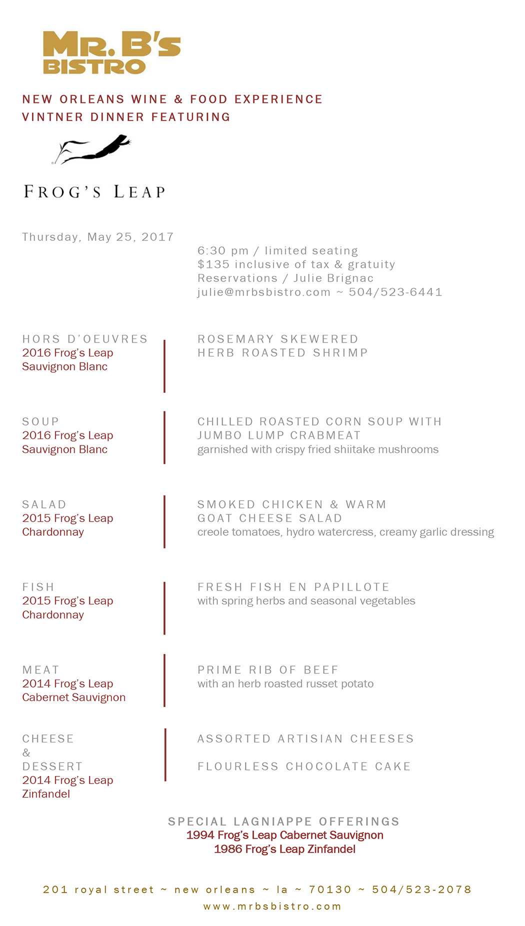 Ramey Wine Dinner Menu
